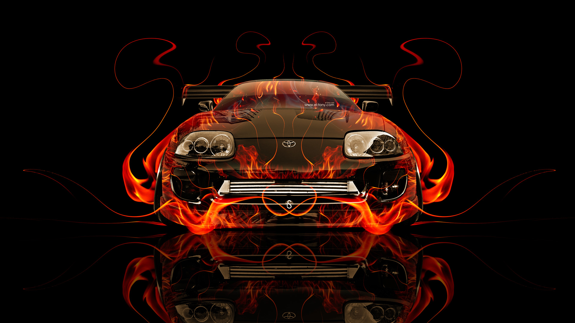 Nice Toyota Supra JDM Front Fire Abstract Car 2014