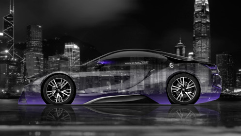 BMW-i8-Side-Crystal-City-Car-2014-Violet-Neon-HD-Wallpapers-design-by-Tony-Kokhan-[www.el-tony.com]