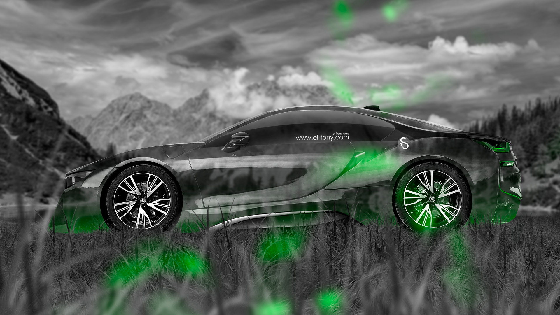 ... BMW I8 Side Crystal Nature Car 2014 Green  ...