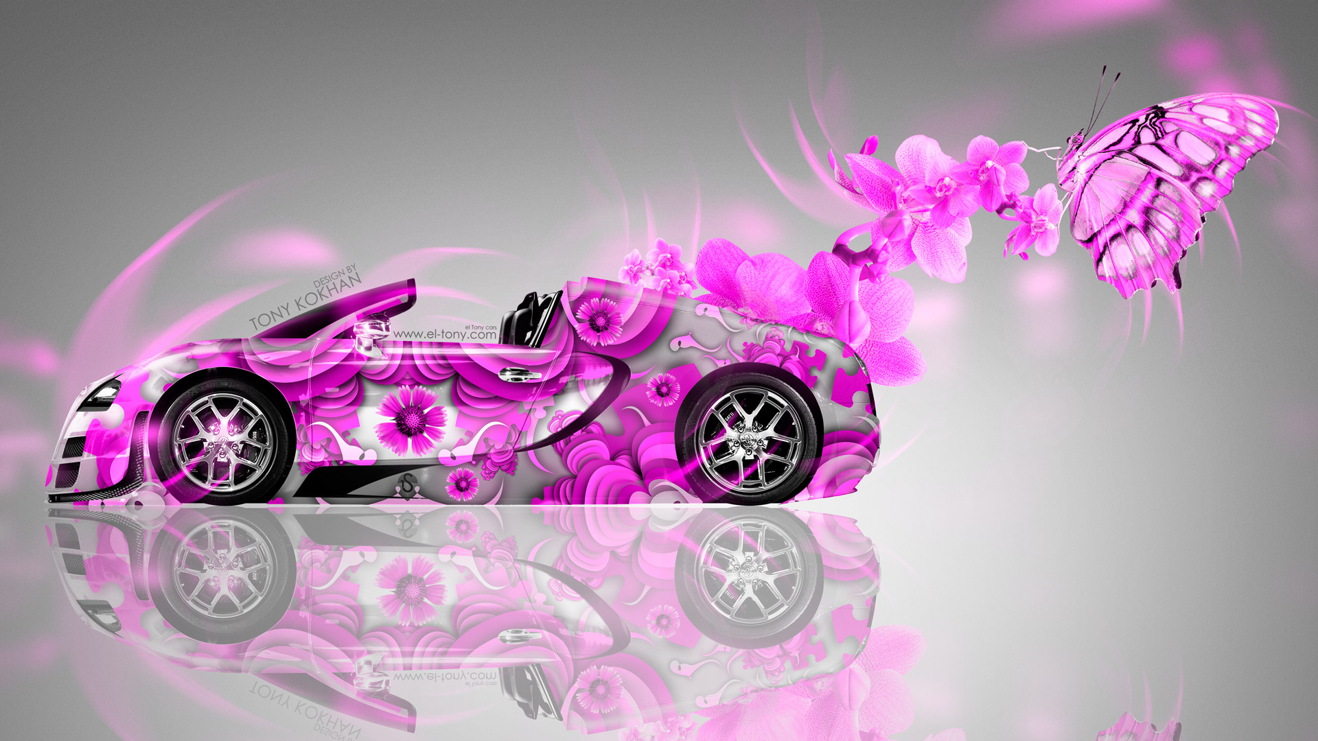 Bugatti Veyron Roadster Fantasy Flowers Butterfly Car 2014
