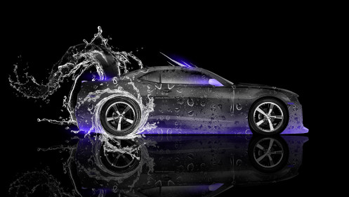 Chevrolet-Camaro-Muscle-Side-Water-Car-2014-Violet-Neon-Art-HD-Wallpapers-design-by-Tony-Kokhan-[www.el-tony.com]