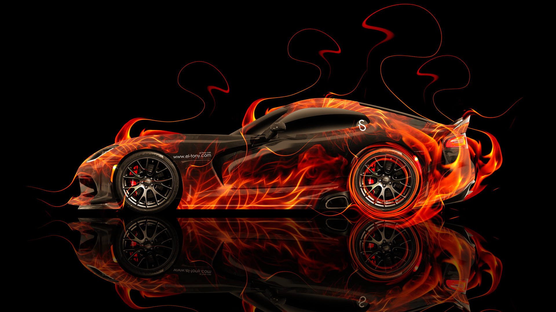 Awesome Dodge Viper SRT Side Super Fire Abstract Car