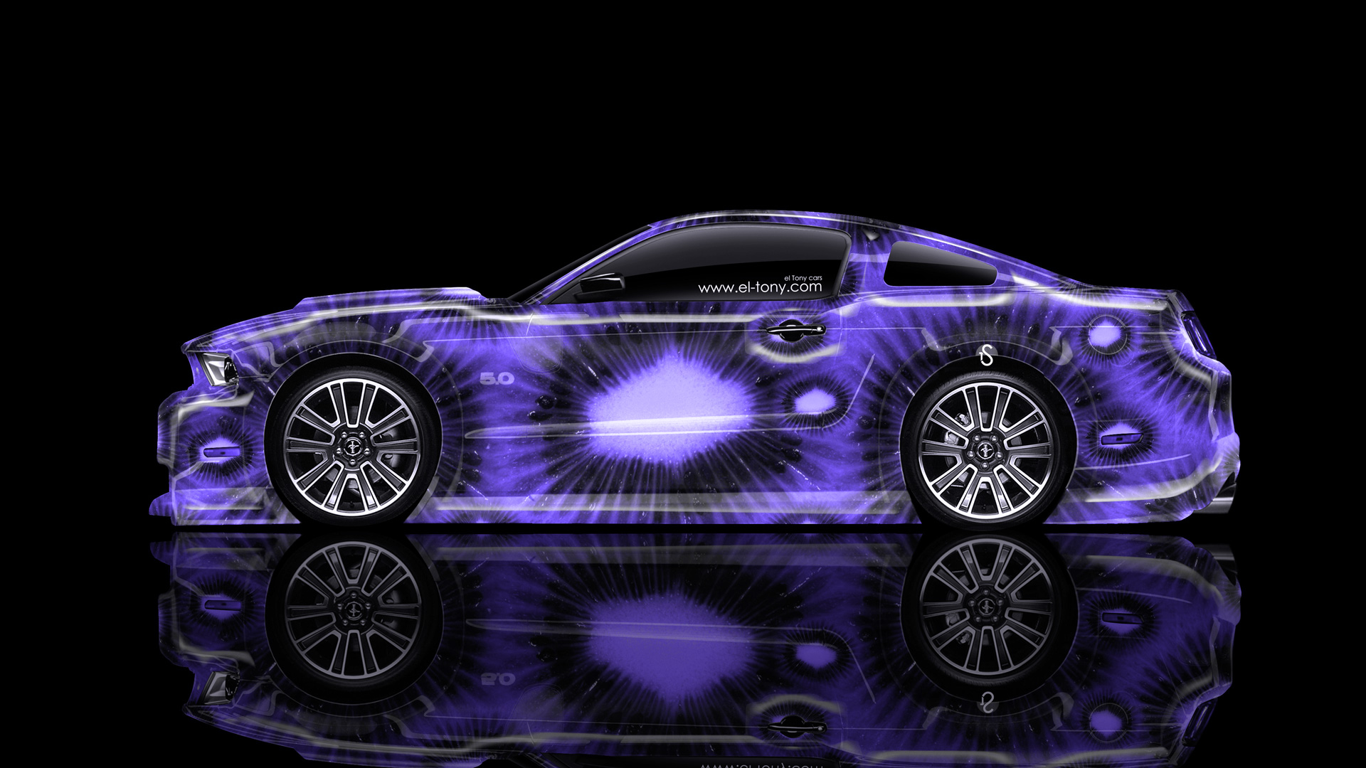 ford mustang gt muscle side violet kiwi aerography - Mustang 2014 Purple