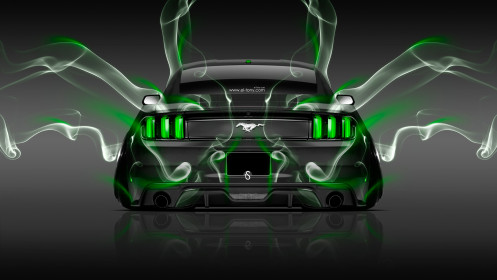 Ford-Mustang-Muscle-Back-Smoke-Car-2014-Green-Neon-HD-Wallpapers-design-by-Tony-Kokhan-[www.el-tony.com]