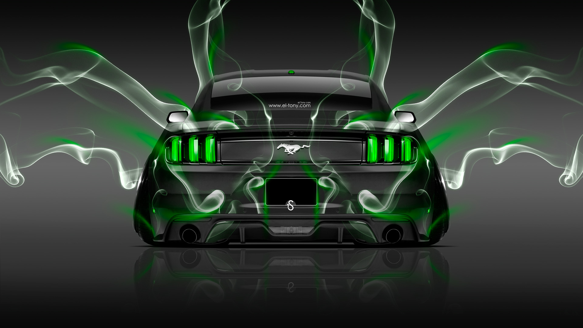 Great Ford Mustang Muscle Back Smoke Car 2014 Green  Amazing Ideas