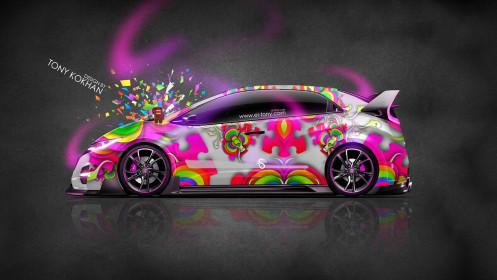 Honda-Civic-Type-R-JDM-Side-Domo-Kun-Toy-Car-2014-Multicolors-Photoshop-HD-Wallpapers-design-by-Tony-Kokhan-[www.el-tony.com]