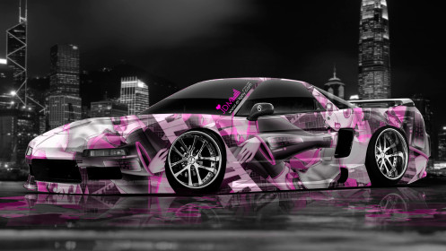 Honda-NSX-JDM-Anime-Aerography-City-Car-2014-Pink-Colors-HD-Wallpapers-design-by-Tony-Kokhan-[www.el-tony.com]