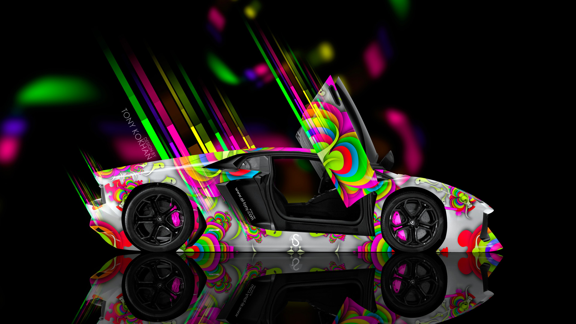 Beau Lamborghini Aventador Open Doors Side Abstract Aerography Car
