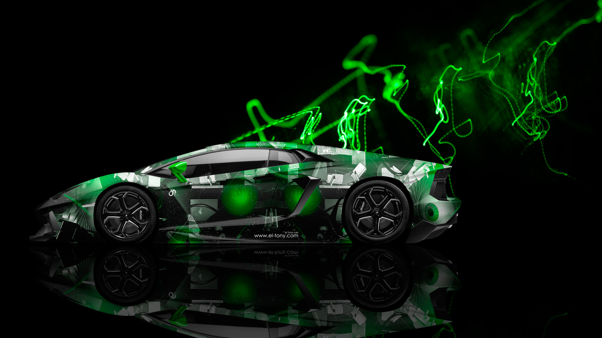 Lamborghini Aventador Side Abstract Aerography Car 2014 Green