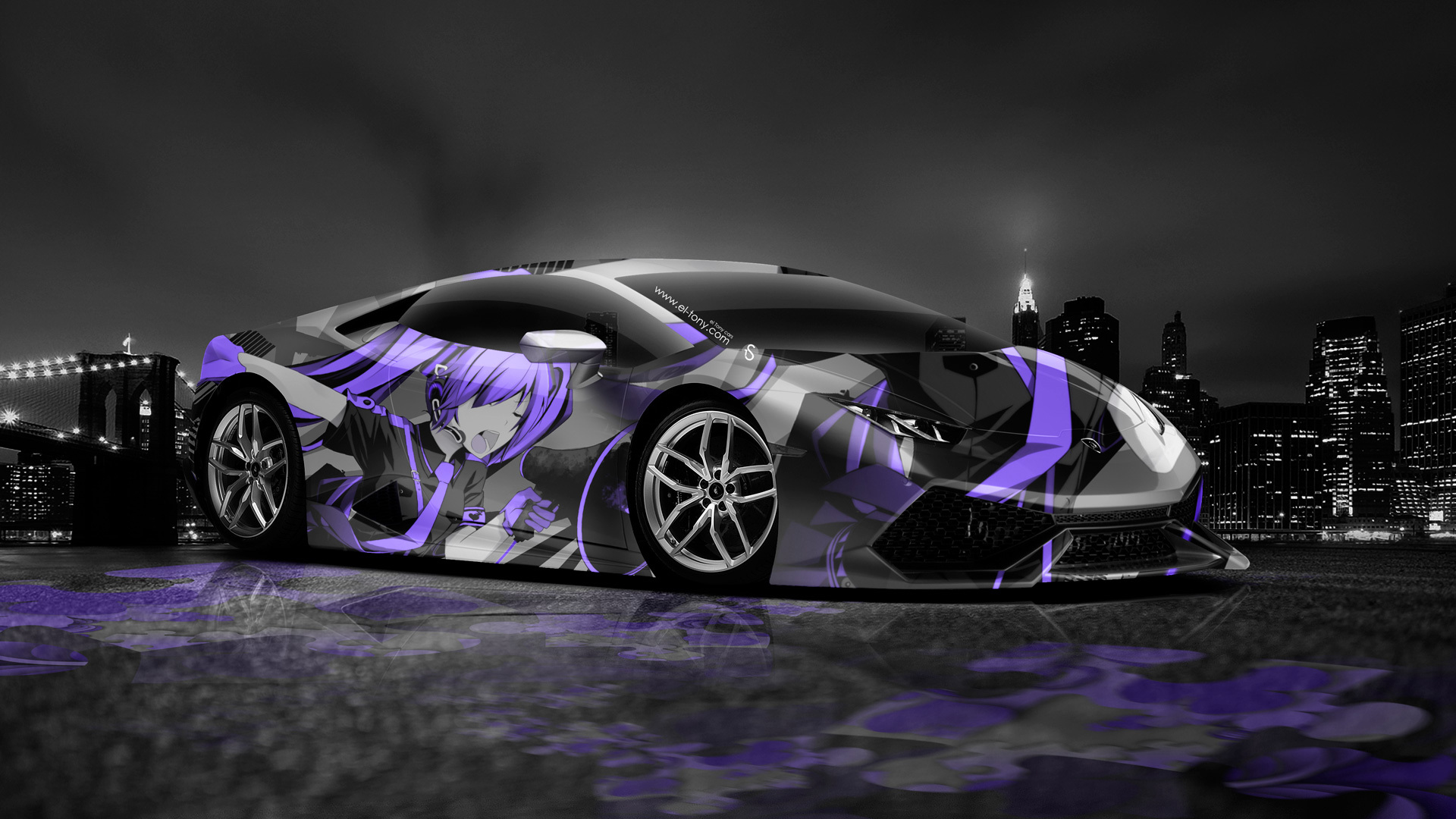 lamborghini huracan anime aerography city car 2014 el tony. Black Bedroom Furniture Sets. Home Design Ideas