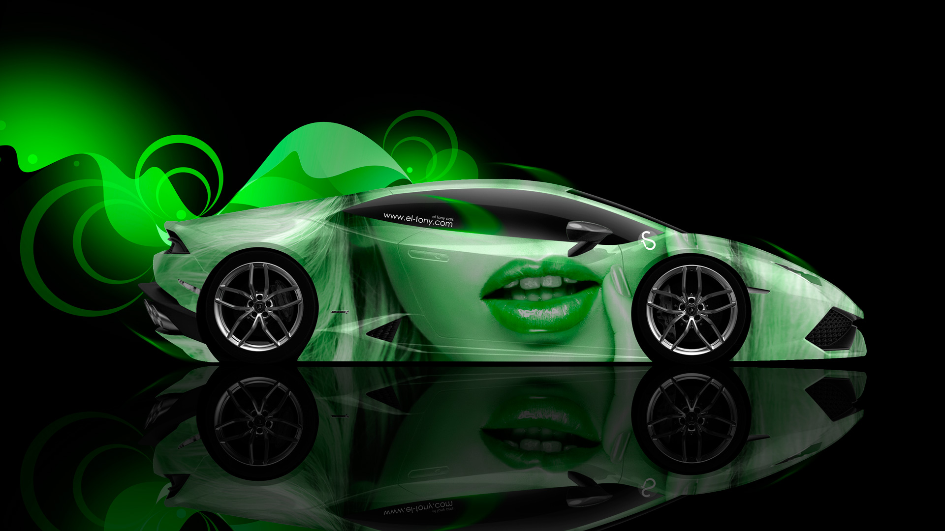 Lamborghini Huracan Side Glamour Girl Aerography Car 2014