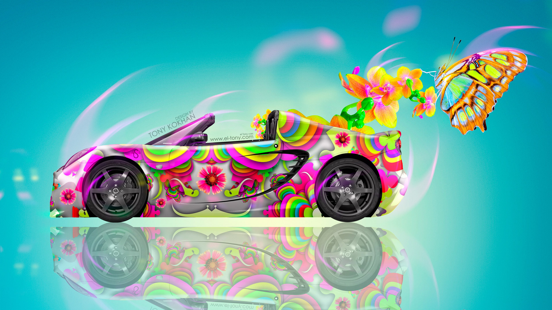 Lotus Elise Side Fantasy Flowers Butterfly Car 2014