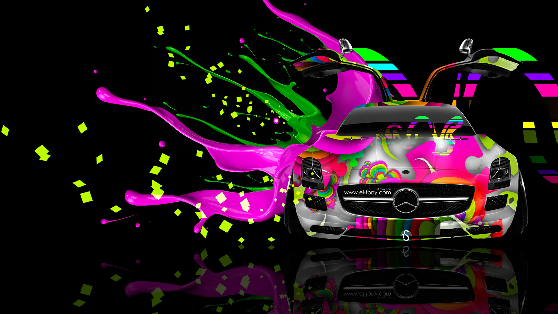 Mercedes-SLS-AMG-Open-Doors-Front-Live-Colors-Car-2014-Art-HD-Wallpapers-design-by-Tony-Kokhan-[www.el-tony.com]