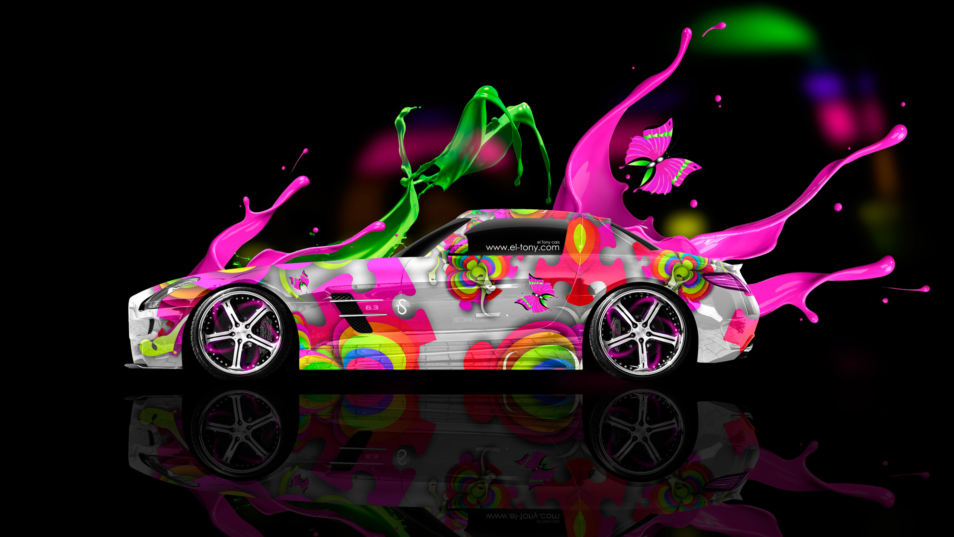 Mercedes-SLS-AMG-Side-Live-Colors-Car-2014-Multicolors-HD-Wallpapers-design-by-Tony-Kokhan-[www.el-tony.com]