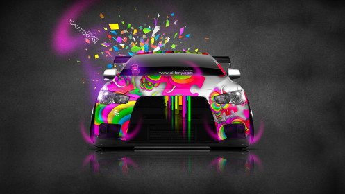 Mitsubishi-Lancer-Evolution-X-Front-Domo-Kun-Toy-Car-2014-Multicolors-HD-Wallpapers-design-by-Tony-Kokhan-[www.el-tony.com]