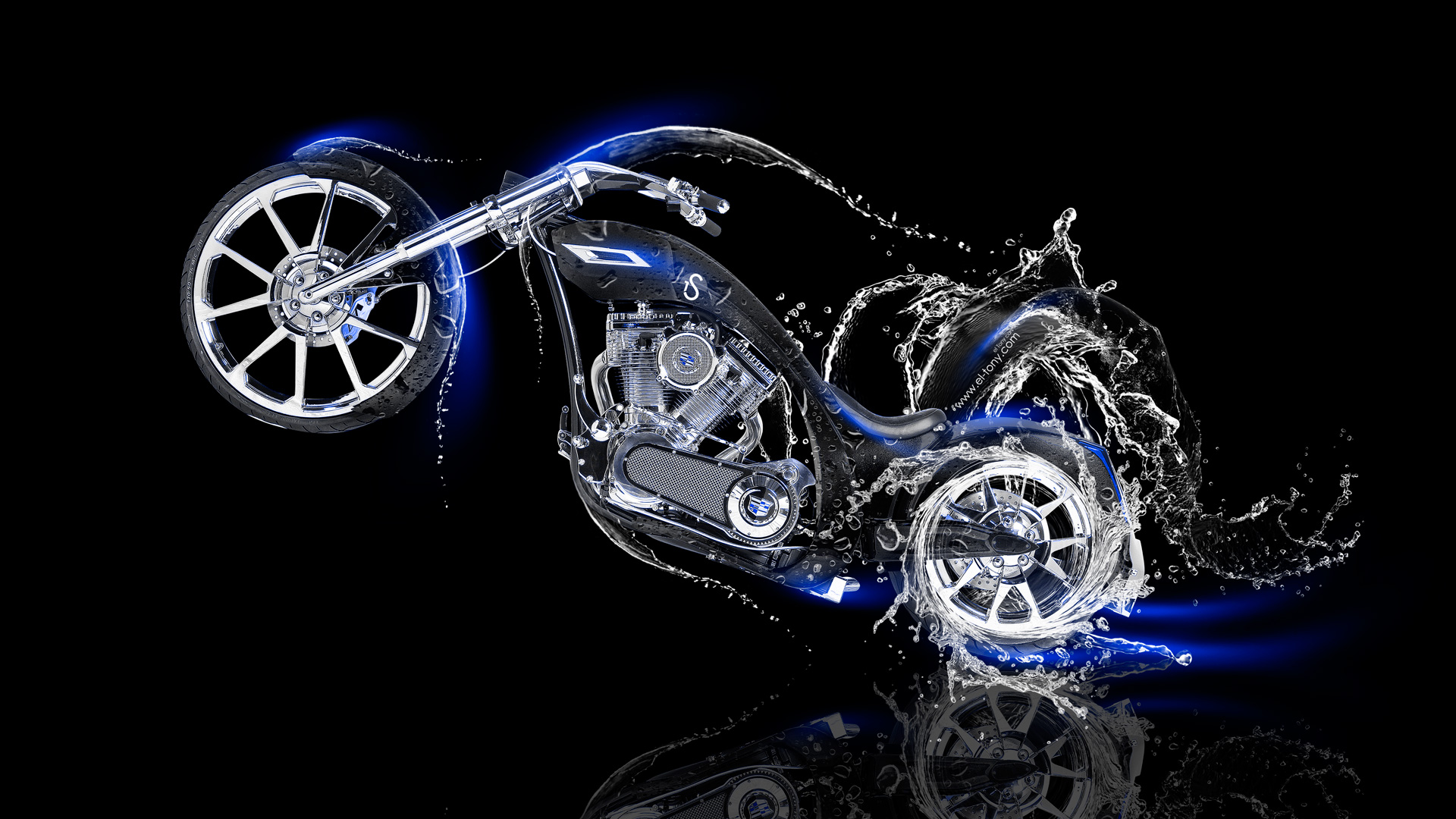 Moto Chopper Side Water Bike 2014 Blue Neon