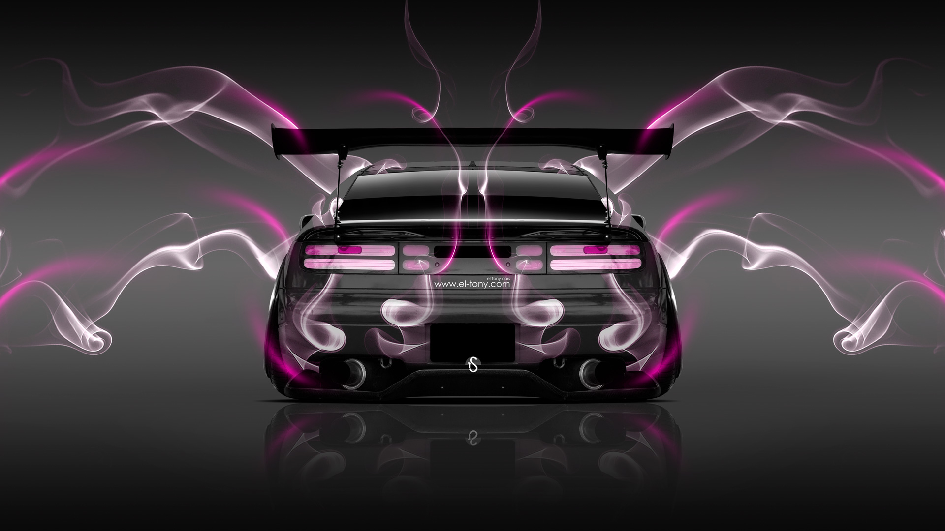 Nissan-300ZX-JDM-Back-Smoke-Car-2014-Pink-Neon-HD-Wallpapers-design-by-Tony-Kokhan-[www.el-tony.com]