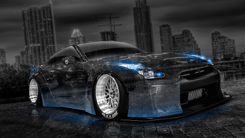Nissan-GTR-R35-Tuning-Crystal-City-Car-2014-Photoshop-Art-Blue-Neon-HD-Wallpapers-design-by-Tony-Kokhan-[www.el-tony.com]