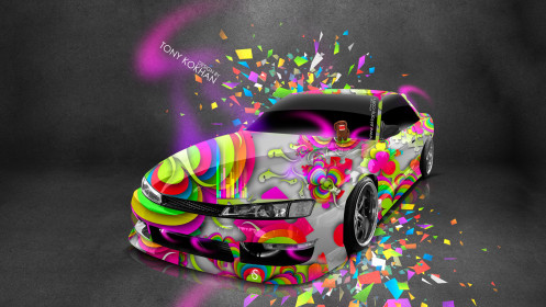 Nissan-Silvia-S14-JDM-Style-Domo-Kun-Toy-Car-2014-Multicolors-Photoshop-HD-Wallpapers-design-by-Tony-Kokhan-[www.el-tony.com]