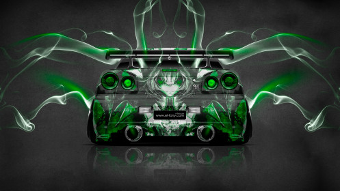 Nissan-Skyline-GTR-R34-JDM-Back-Anime-Aerography-Smoke-Car-2014-Green-Neon-HD-Wallpapers-design-by-Tony-Kokhan-[www.el-tony.com]