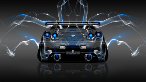 Nissan-Skyline-GTR-R34-JDM-Back-Smoke-Car-2014-Blue-Neon-HD-Wallpapers-design-by-Tony-Kokhan-[www.el-tony.com]