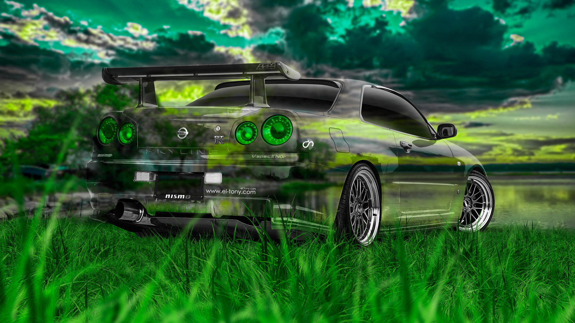 Amazing Nissan Skyline GTR R34 JDM Crystal Nature Car