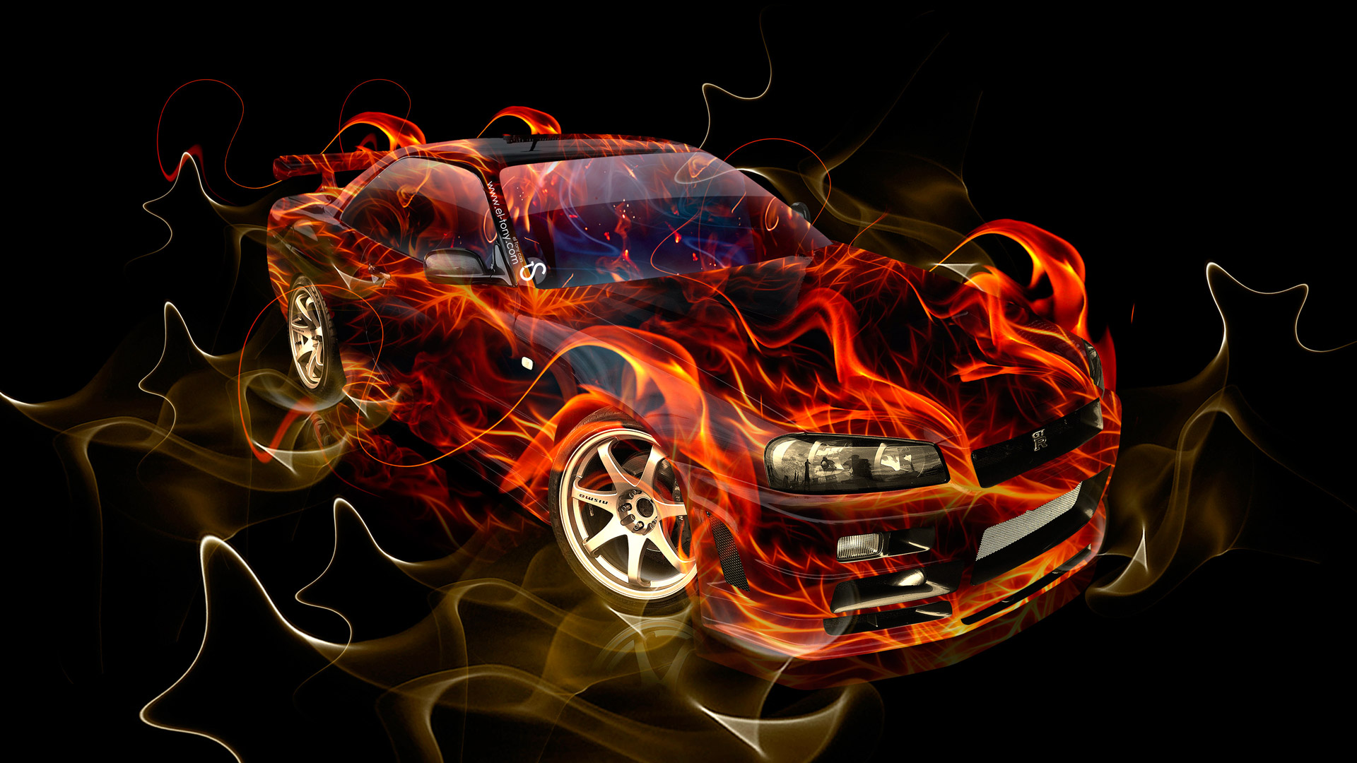 Charming Nissan Skyline GTR R34 JDM Side Fire Car 2014 ...