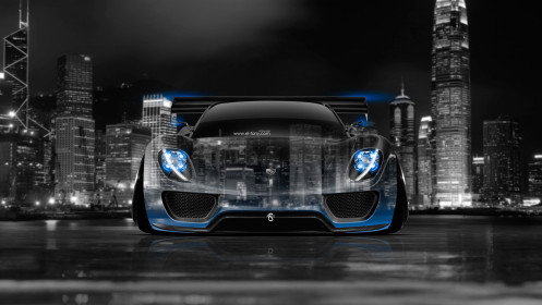 Porsche-918-Hybrid-Front-Crystal-City-Car-2014-Blue-Neon-HD-Wallpapers-design-by-Tony-Kokhan-[www.el-tony.com]