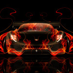 Porsche 918 Front Fire Abstract Car 2014