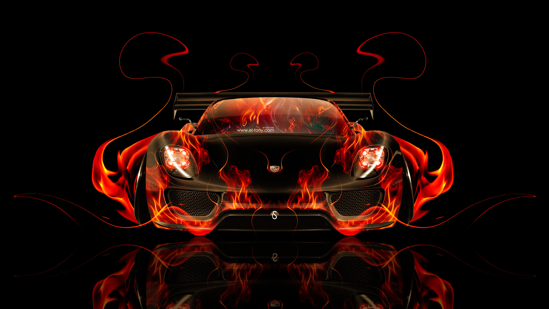 Delightful Porsche 918 Front Fire Abstract Car 2014