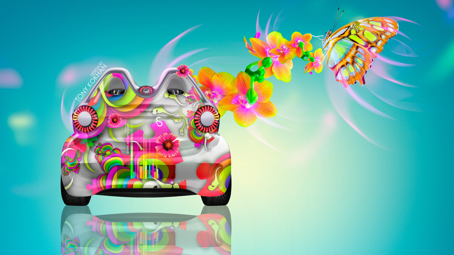 Smart-Electro-Fantasy-Butterfly-Flowers-Car-2014-Photoshop-Multicolors-HD-Wallpapers-design-by-Tony-Kokhan-[www.el-tony.com]