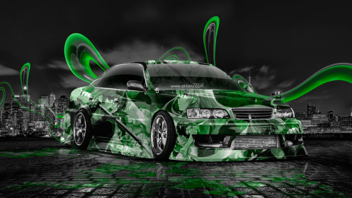 Toyota-Chaser-JZX100-JDM-Anime-Aerography-City-Car-2014-Photoshop-Green-Colors-HD-Wallpapers-design-by-Tony-Kokhan-[www.el-tony.com]