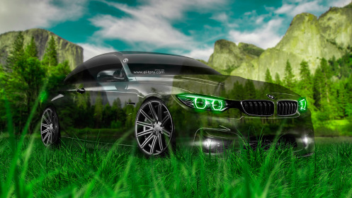BMW-M4-Crystal-Nature-Car-2014-Green-Neon-Grass-Photoshop-HD-Wallpapers-design-by-Tony-Kokhan-[www.el-tony.com]