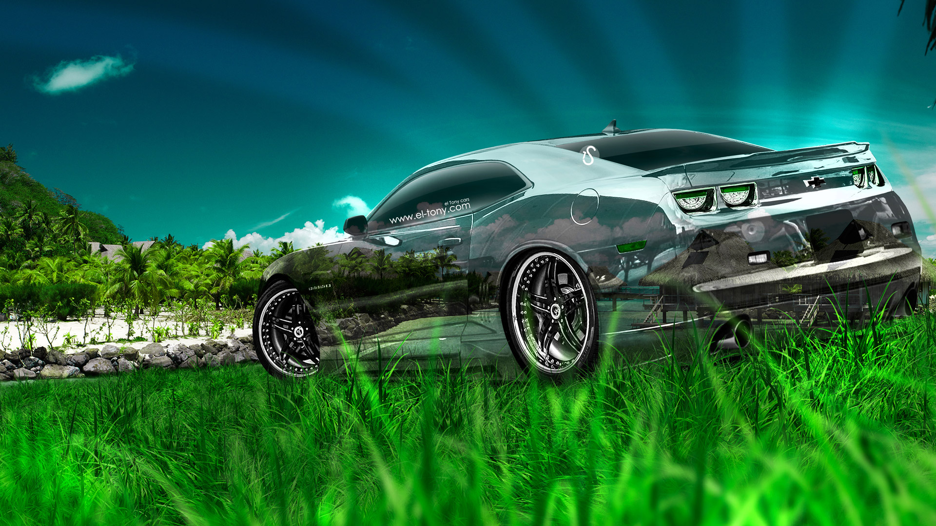 Chevrolet-Camaro-Muscle-Crystal-Nature-Car-2014-Green-Grass-Sea-HD-Wallpapers-design-by-Tony-Kokhan-[www.el-tony.com]