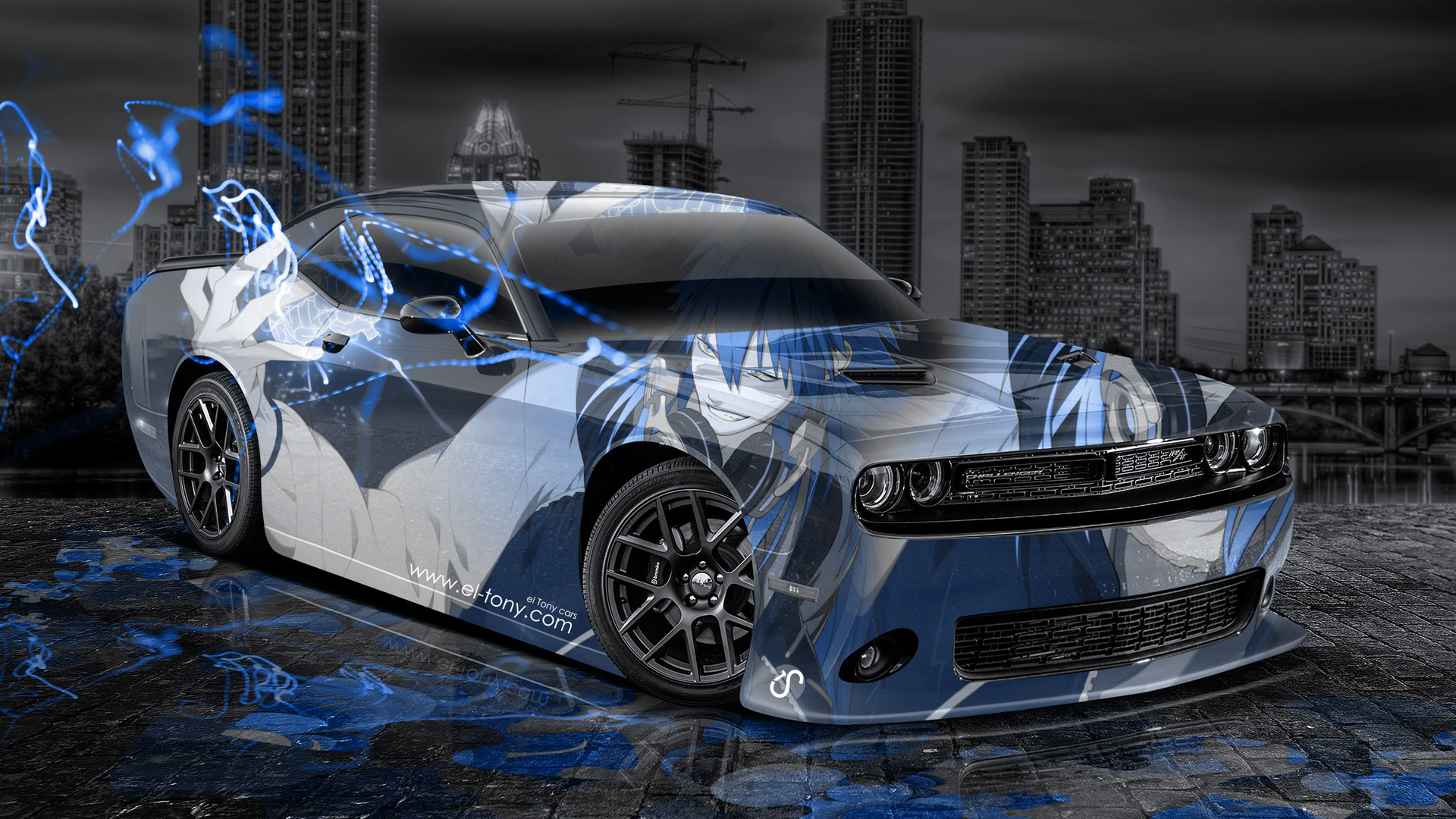 Dodge Challenger Muscle Anime Aerography City Car 2014