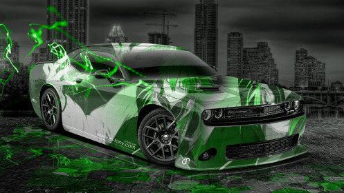 Dodge-Challenger-Muscle-Anime-Aerography-City-Car-2014-Green-Effects-HD-Wallpapers-design-by-Tony-Kokhan-[www.el-tony.com]