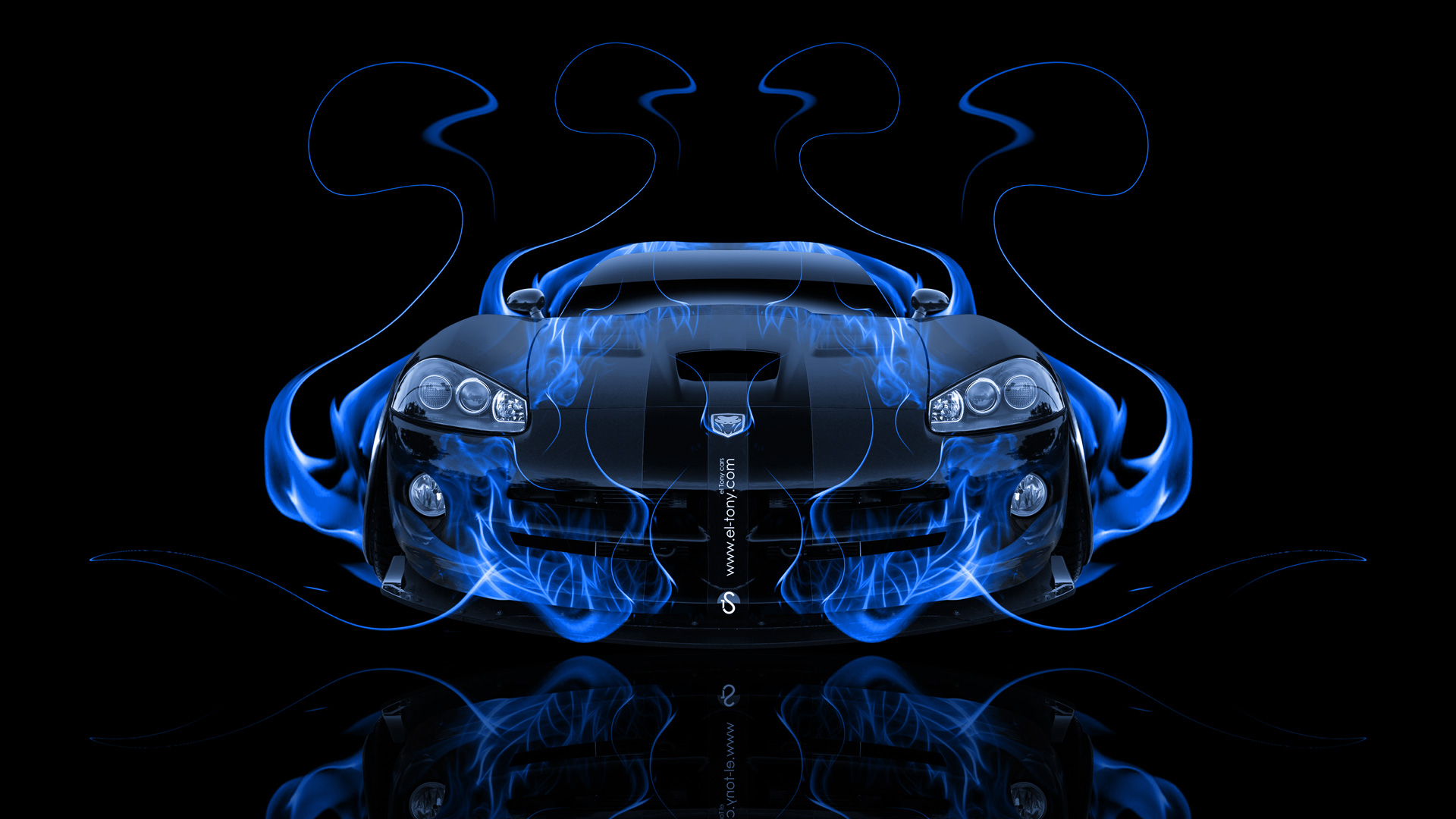 Dodge Viper Srt Front Fire Abstract Car 2014 El Tony