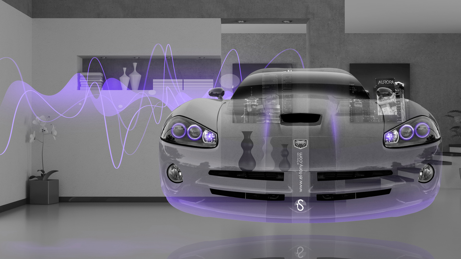 Dodge-Viper-SRT-Front-Fantasy-Crystal-Home-Fly-Car-2014-Violet-Neon-Effects-HD-Wallpapers-design-by-Tony-Kokhan-[www.el-tony.com]