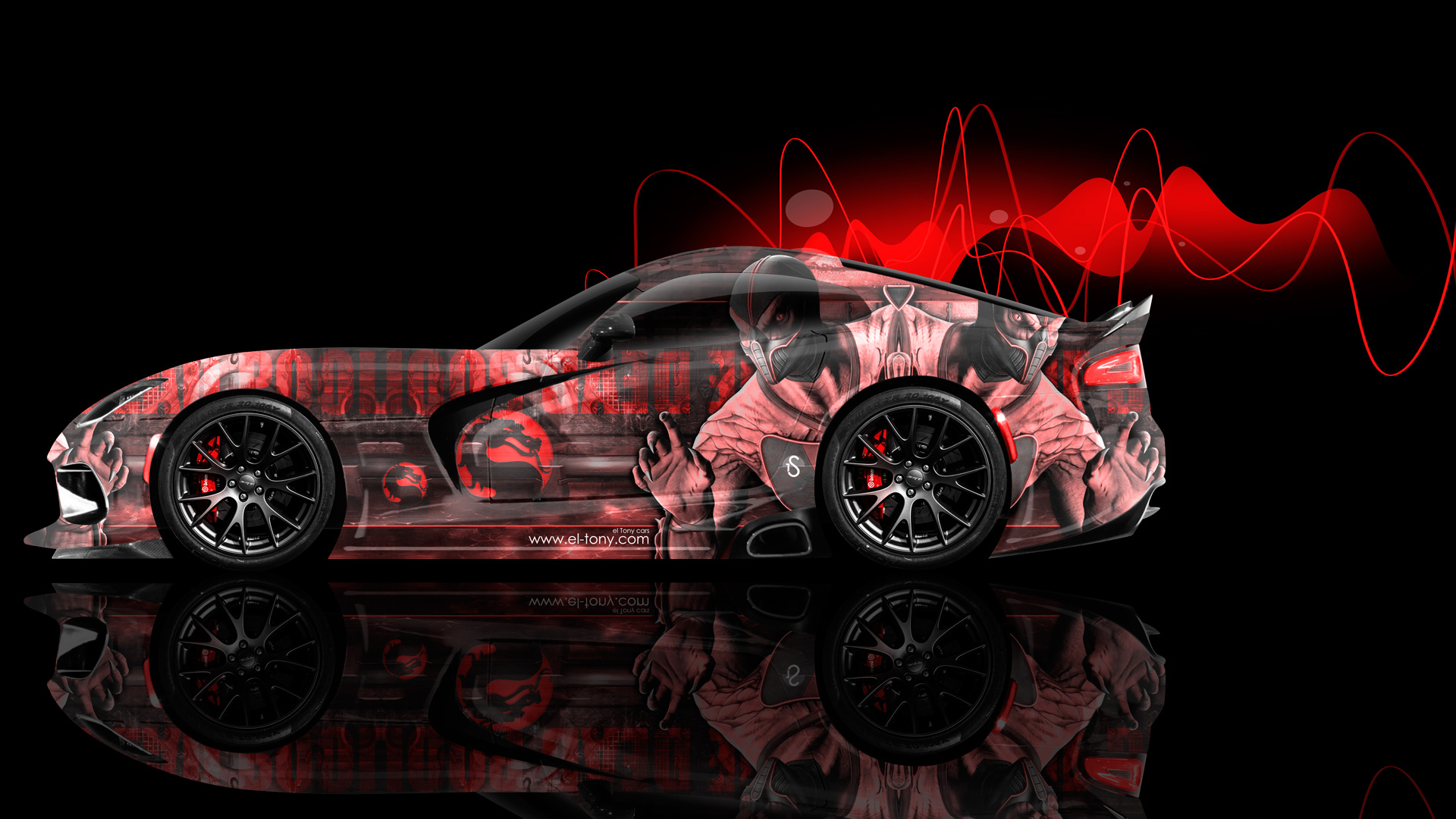 Dodge Viper Mortal Kombat Reptile Aerography Car 2014 El Tony