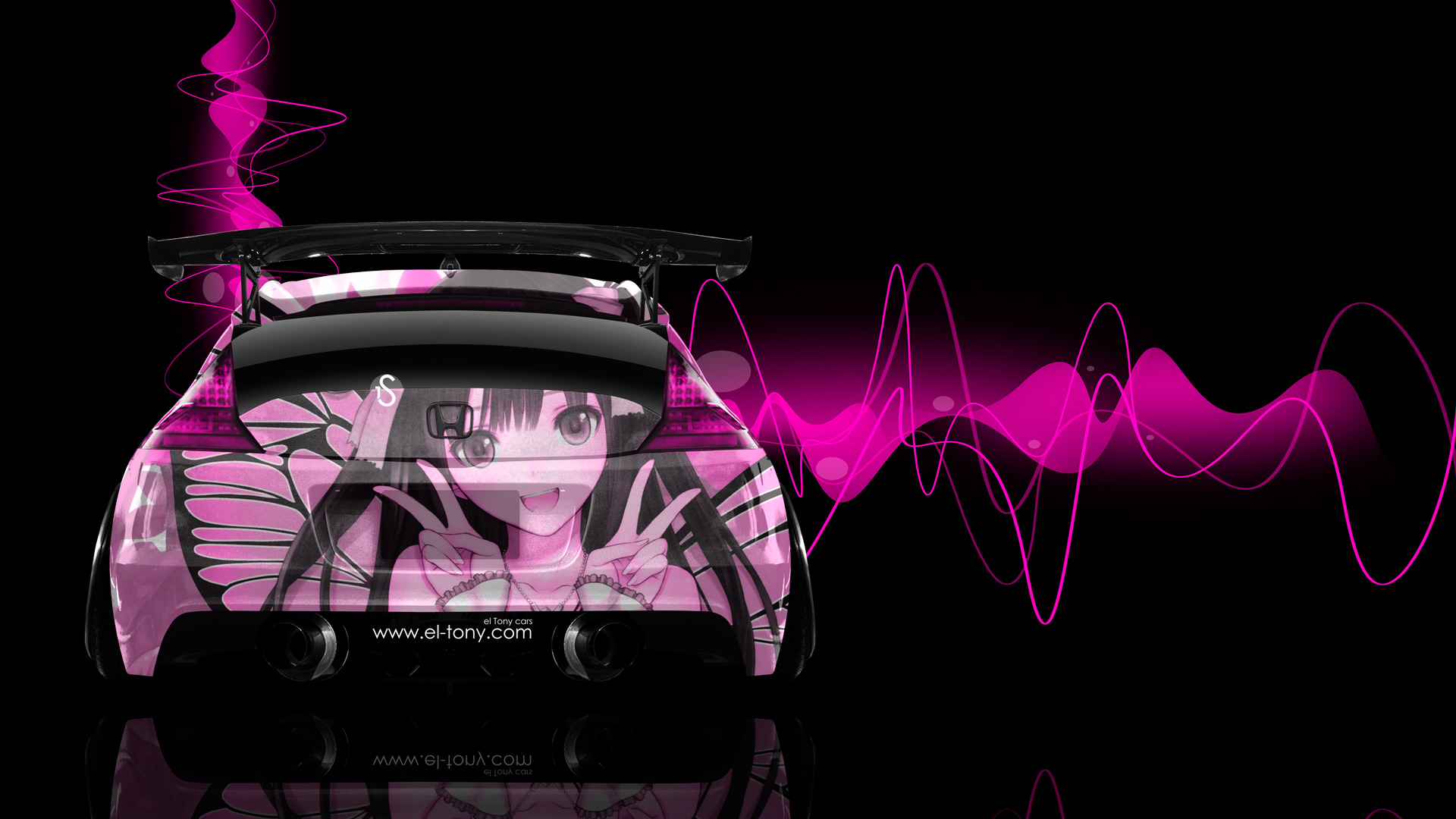 Honda-CR-Z-Tuning-Back-Anime-Aerography-Car-2014-Pink-Effects-HD-Wallpapers-design-by-Tony-Kokhan-[www.el-tony.com]