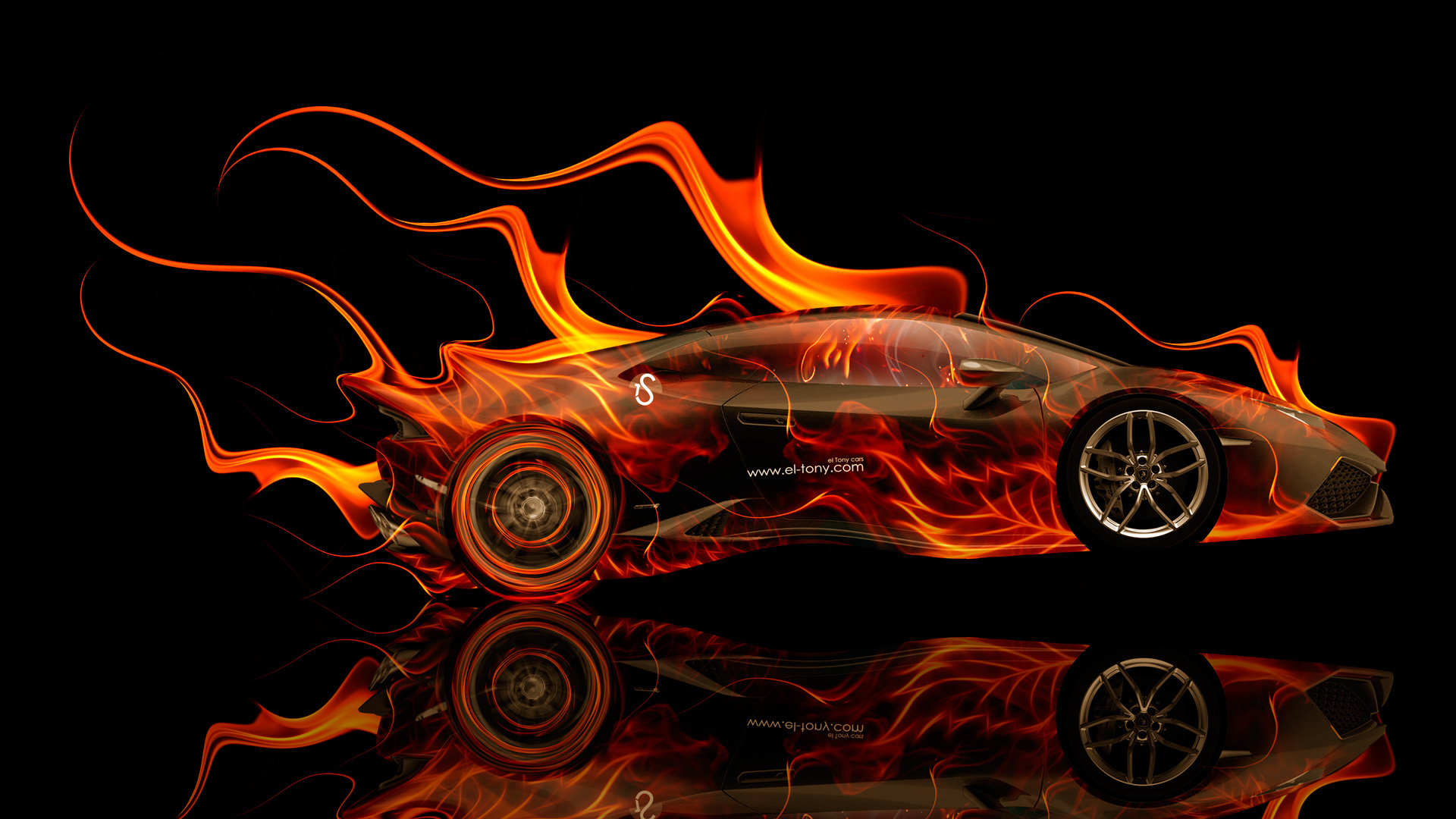Lamborghini Huracan Side Fire Abstract Car 2014 HD
