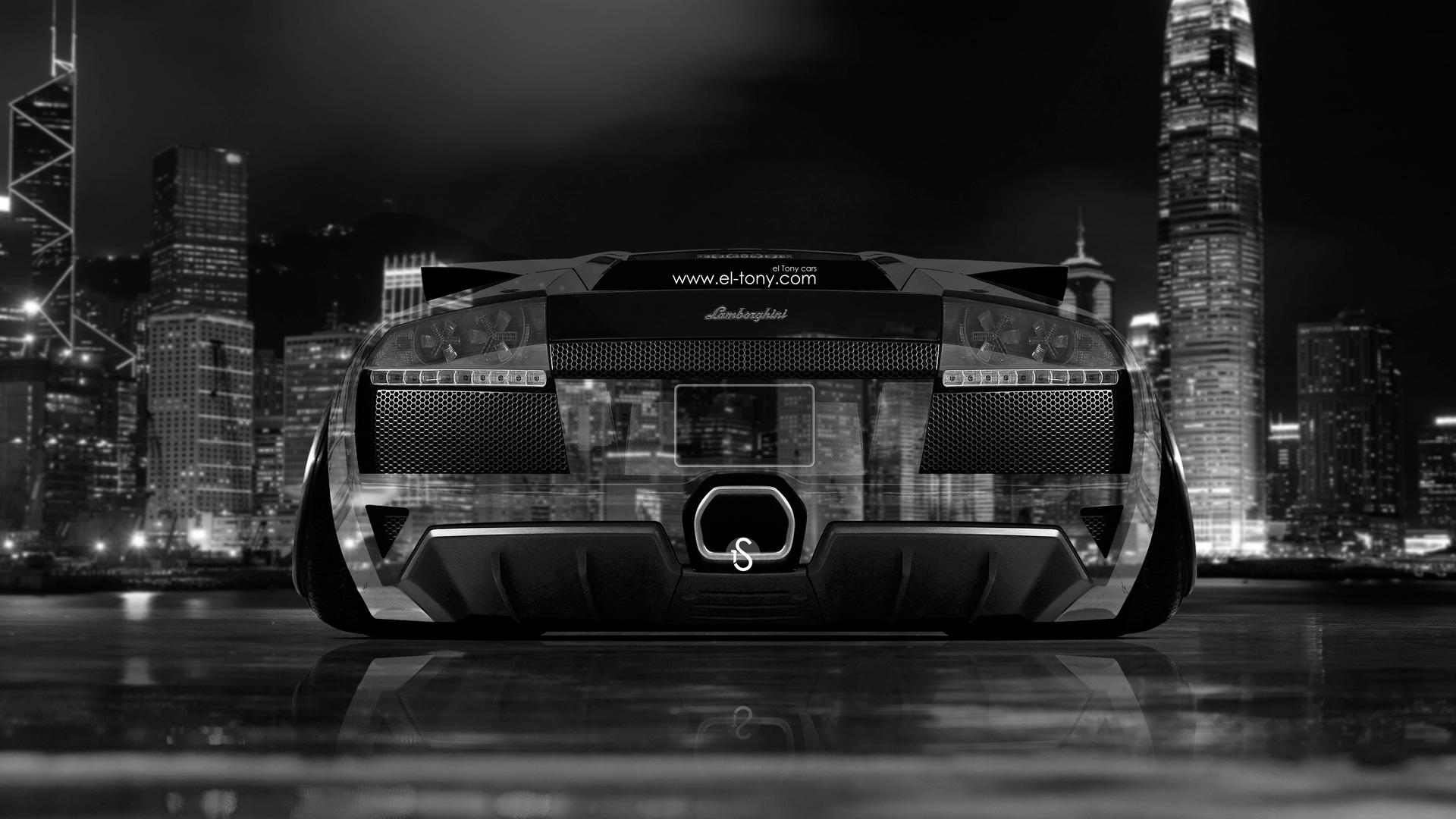 Etonnant ... Lamborghini Murcielago Back Crystal City Car 2014 Photoshop  ...