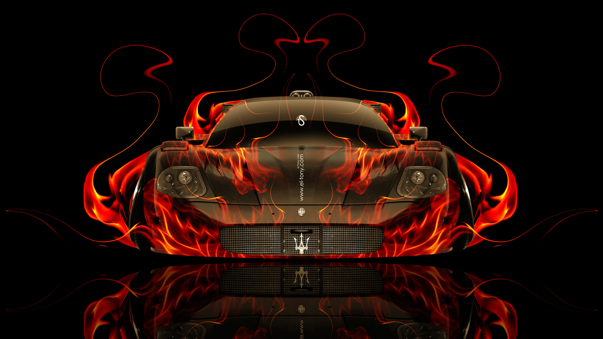 Wonderful Maserati MC12 Super Sport Front Fire Abstract Car