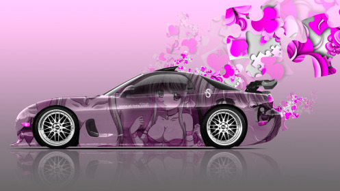 Mazda-RX7-JDM-Side-Anime-Aerography-Girl-Car-2014-Pink-Soft-Image-HD-Wallpapers-design-by-Tony-Kokhan-[www.el-tony.com]