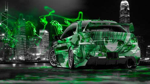 Mitsubishi-Lancer-Evolution-JDM-Anime-Girl-Aerography-City-Car-2014-Green-Neon-Effects-HD-Wallpapers-design-by-Tony-Kokhan-[www.el-tony.com]