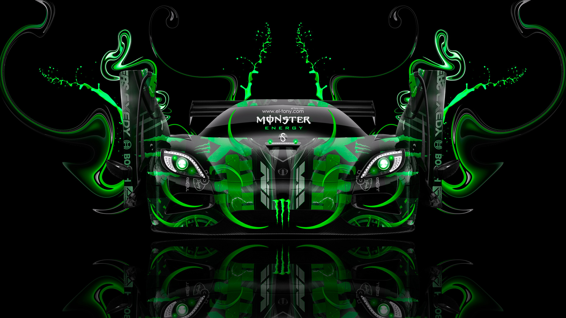 Beau Monster Energy Koenigsegg Agera Open Doors Fantasy Green