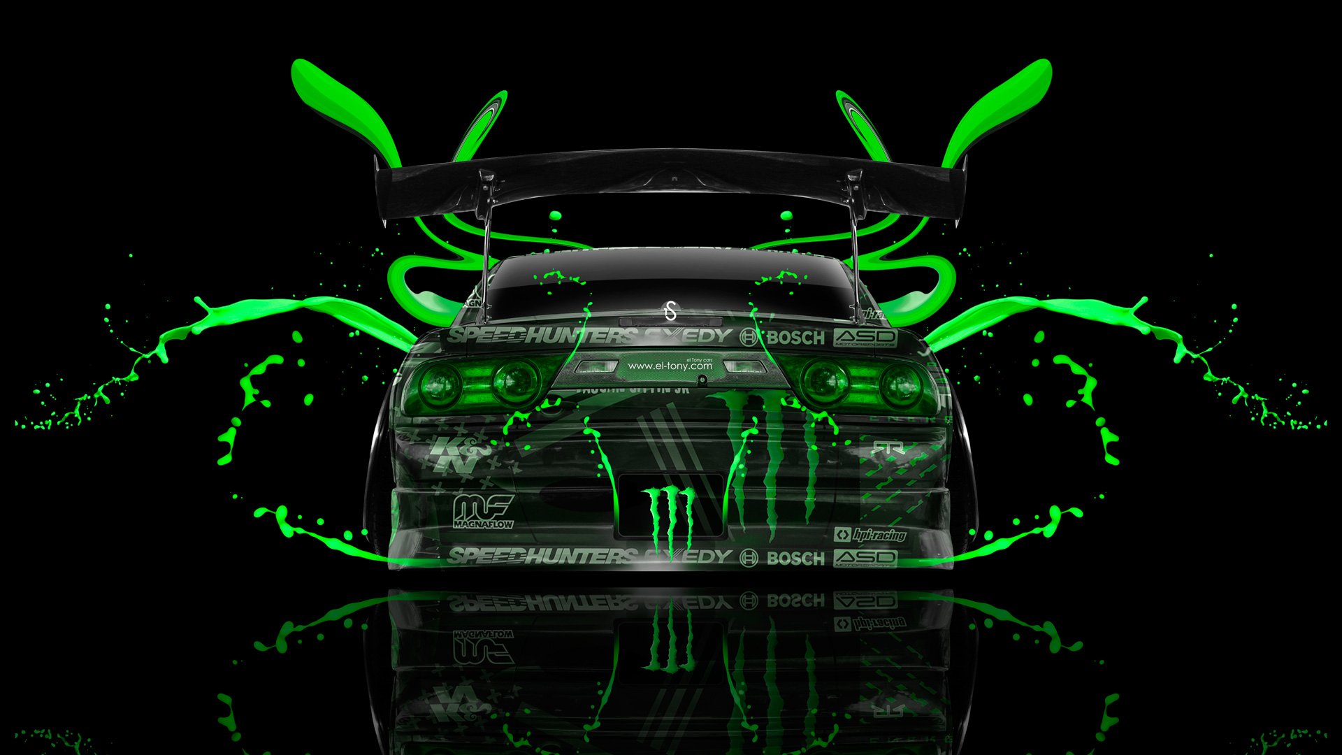 Monster Energy Nissan 180SX JDM Back Green Plastic