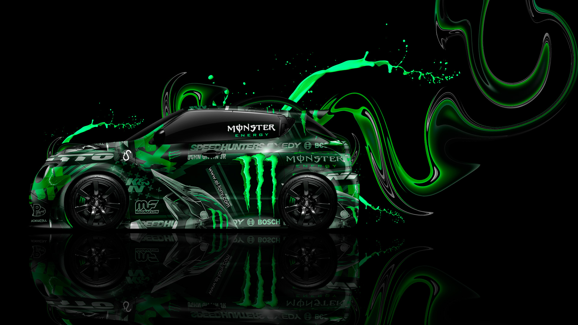 Monster Energy Nissan Juke R Side Green Plastic
