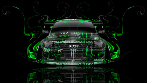 Monster-Energy-Toyota-Altezza-Tuning-JDM-Front-Green-Fire-Plastic-Car-2014-HD-Wallpapers-design-by-Tony-Kokhan-[www.el-tony.com]