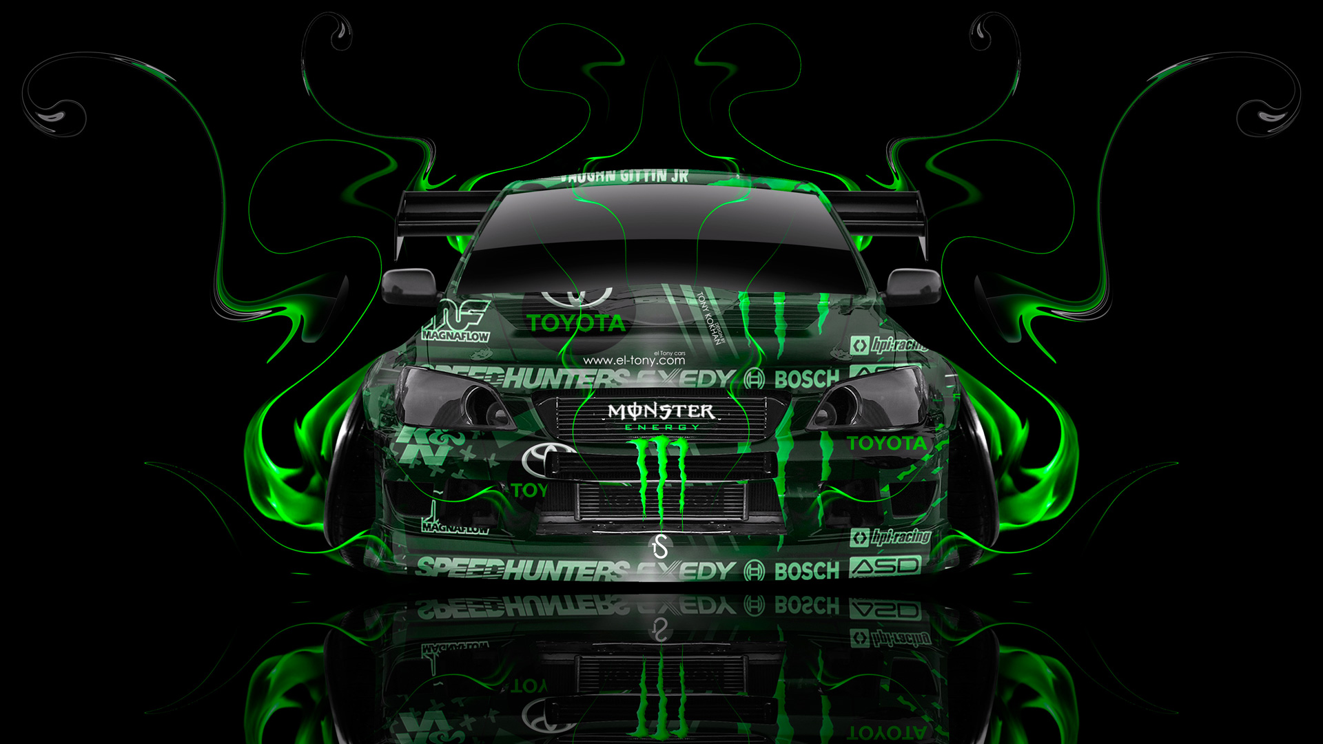Nice Monster Energy Toyota Altezza Tuning JDM Front Green